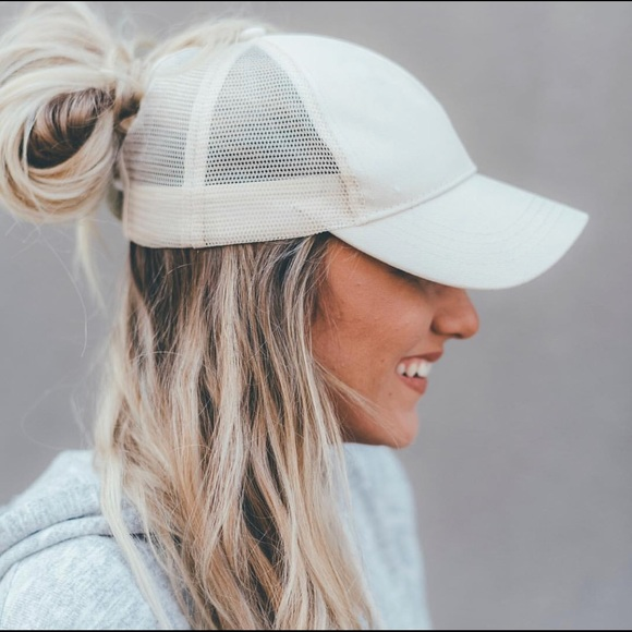 3fdba01fe5f Beige ponytail baseball cap  hat with mesh back.